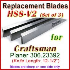 Set of 3 HSS Blades for Craftsman 12'' Planer, 306.23392