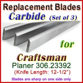 Set of 3 Carbide Blades for Craftsman 12'' Planer, 306.23392
