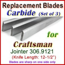 Set of 3 Carbide Blades for Craftsman 12-1/2'' Planer, 306.9121