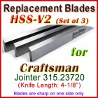 Set of 3 HSS Blades for Craftsman 4'' Jointer, 315.23720