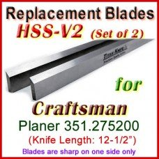 Set of 2 Carbide Blades for Craftsman 12'' Planer, 351.275200