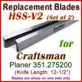 Set of 2 Carbide Blades for Craftsman 12'' Planer, 351.275200