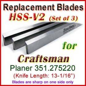 Set of 3 HSS Blades for Craftsman 13'' Planer, 351.275220