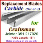 Set of 3 Carbide Blades for Craftsman 15'' Planer, 351.217020