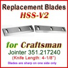 Set of 2 HSS Blades for Craftsman 4'' Jointer, 351.217240