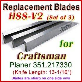 Set of 3 HSS Blades for Craftsman 13'' Planer, 351.217330