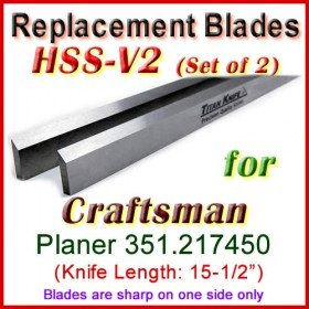 Set of 2 HSS Blades for Craftsman 15-1/2'' Planer, 351.217450