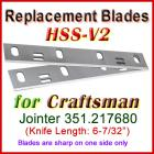 Set of 2 HSS Blades for Craftsman 6'' Jointer, 351.217680