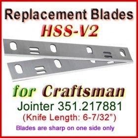 Set of 2 HSS Blades for Craftsman 6'' Jointer, 351.217881
