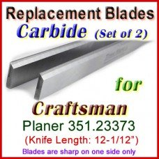 Set of 2 Carbide Blades for Craftsman 12-1/2'' Planer, 351.23373