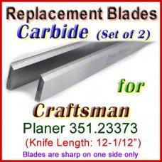 Set of 2 Carbide Blades for Craftsman 12-1/2'' Planer, 351.23373
