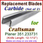 Set of 2 Carbide Blades for Craftsman 12-1/2'' Planer, 351.233731