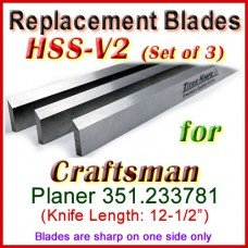 Set of 3 HSS Blades for Craftsman 12'' Planer, 351.233781
