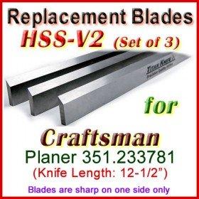 Set of 3 HSS Blades for Craftsman 12'' Planer, 351.233781