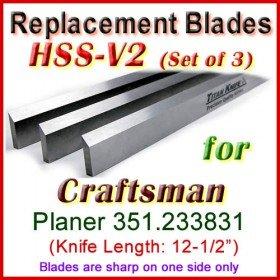 Set of 3 HSS Blades for Craftsman 12-1/2'' Planer, 351.233831