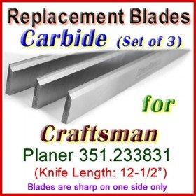 Set of 3 Carbide Blades for Craftsman 12-1/2'' Planer, 351.233831