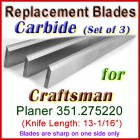 Set of 3 Carbide Blades for Craftsman 13'' Planer, 351.275220