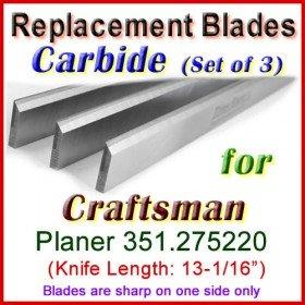 Set of 3 Carbide Blades for Craftsman 13'' Planer, 351.275220