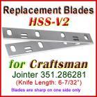 Set of 2 HSS Blades for Craftsman 6'' Jointer, 351.286281