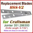 Set of 2 HSS Blades for Craftsman 6'' Jointer, 351.286300