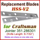 Set of 2 HSS Blades for Craftsman 6'' Jointer, 351.286301