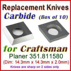 Box of 10 Carbide Insert knives for Craftsman Planer, 351.811580