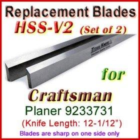 Set of 2 HSS Blades for Craftsman 12-1/2'' Planer, 9233731