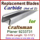 Set of 2 Carbide Blades for Craftsman 12-1/2'' Planer, 9233731