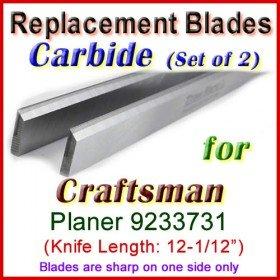 Set of 2 Carbide Blades for Craftsman 12-1/2'' Planer, 9233731