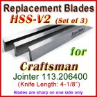 Set of 3 HSS Blades for Craftsman 4'' Jointer, 113.206400