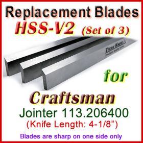 Set of 3 HSS Blades for Craftsman 4'' Jointer, 113.206400