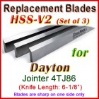 Set of 3 HSS Blades for Dayton 6'' Jointer, 4TJ86