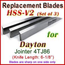 Set of 3 HSS Blades for Dayton 6'' Jointer, 4TJ86