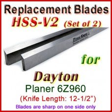 Set of 2 HSS Blades for Dayton 12'' Planer, 6Z960