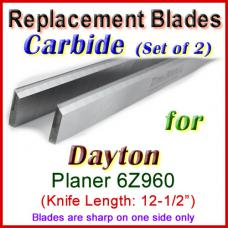 Set of 2 Carbide Blades for Dayton 12'' Planer, 6Z960