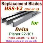 Set of 3 HSS Blades for Delta 13'' Planer, 22-101