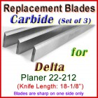 Set of 3 Carbide Blades for Delta 18'' Planer, 22-212
