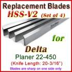 Set of 4 HSS Blades for Delta 20'' Planer, 22-450