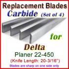 Set of 4 Carbide Blades for Delta 20'' Planer, 22-450