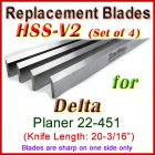 Set of 4 HSS Blades for Delta 20'' Planer, 22-451