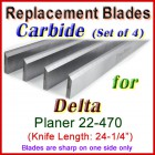 Set of 4 Carbide Blades for Delta 24'' Planer, 22-470
