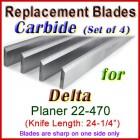 Set of 3 Carbide Blades for Delta 24'' Planer, 22-470