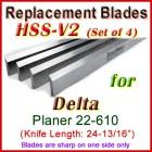 Set of 4 HSS Blades for Delta 25'' Planer, 22-610