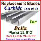 Set of 4 Carbide Blades for Delta 25'' Planer, 22-610
