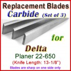Set of 3 Carbide Blades for Delta 13'' Planer, 22-650