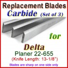 Set of 3 Carbide Blades for Delta 13'' Planer, 22-655