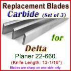Set of 3 Carbide Blades for Delta 13'' Planer, 22-660