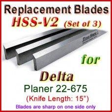 Set of 3 HSS Blades for Delta 15'' Planer, 22-675
