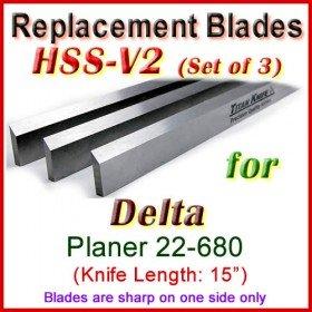 Set of 3 HSS Blades for Delta 15'' Planer, 22-680