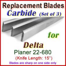 Set of 3 Carbide Blades for Delta 15'' Planer, 22-680
